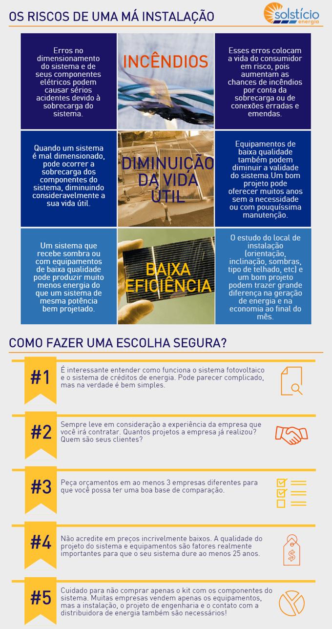 infográfico explicando alguns dos cuidados necessários ao escolher uma empresa de energia solar.