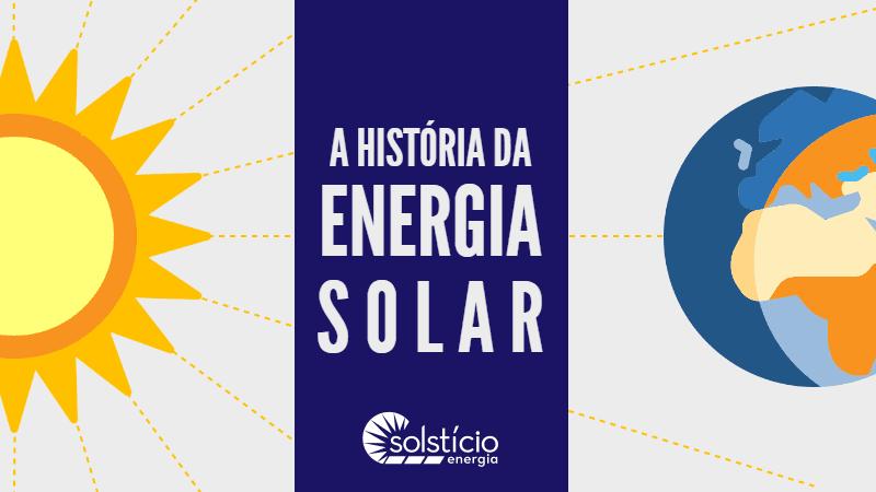 Capa do infográfico. Quadro roxo escuro com o texto História da Energia Solar em branco.