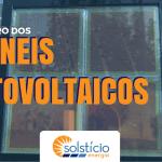 Imagem com tom azul translúcido que mostra uma estrutura parecida com uma janela de quadro vidros, onde cada quadrado é uma célula solar de tom próximo do marrom/vermelho. Capa do post sobre o futuro dos paineis fotovoltaicos.