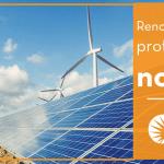 """Foto de um grande sistema fotovoltaico instalado no solo com duas turbinas eólicas atrás. Um texto à direita diz """"Renováveis serão protagonistas no G20""""."""