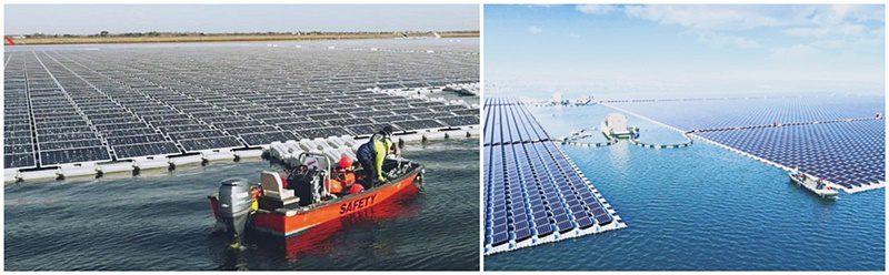 Duas fotos colocadas lado-a-lado mostrando grandes extensões de painéis fotovoltaicos boiando em superfícies aquáticas. Composição de usinas flutuantes.