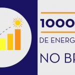 Ilustração dividida em dois quadrados. No quadrado da esquerda, roxo escuro, um gráfico de barras crescente termica com um sol em cima da última barra, a maior. O outro quadrado, cinza claro, conta com um texto: 1000 MW de energia solar no Brasil, referente à geração solar no país.