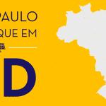"""Ilustração de fundo amarelo com um mapa do Brasil cinza claro. O texto """"São Paulo é destaque em GD"""" está em roxo escuro."""