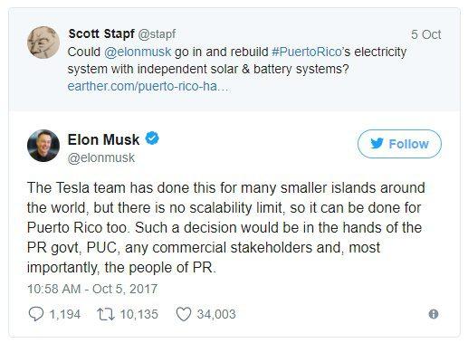 """Com a ideia de reconstruir Porto Rico com energia solar, Elon Musk se posiciona no Twitter dizendo que """"o time da Tesla já fez o mesmo para ilhas menores ao redor do mundo"""", mas não há limite de escala, então pode ser feito em Porto Rico também""""."""