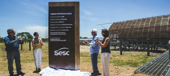 Foto da inauguração da usina solar do SESC no Mato Grosso