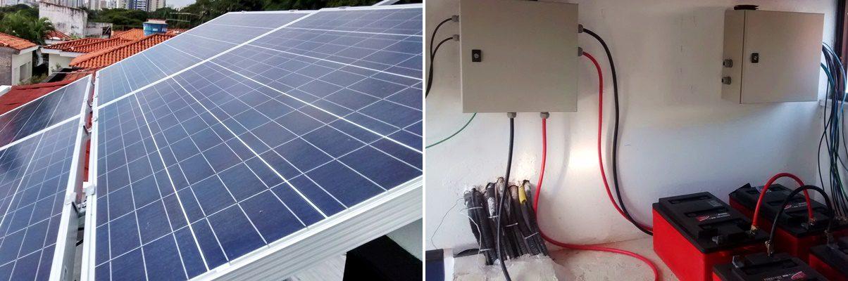 Duas fotos combinadas lado a lado. À esquerda um pequeno sistema fotovoltaico instalado no telhado. Do lado direito, quatro baterias vermelhas no chão conectadas ao sistema fotovoltaico.