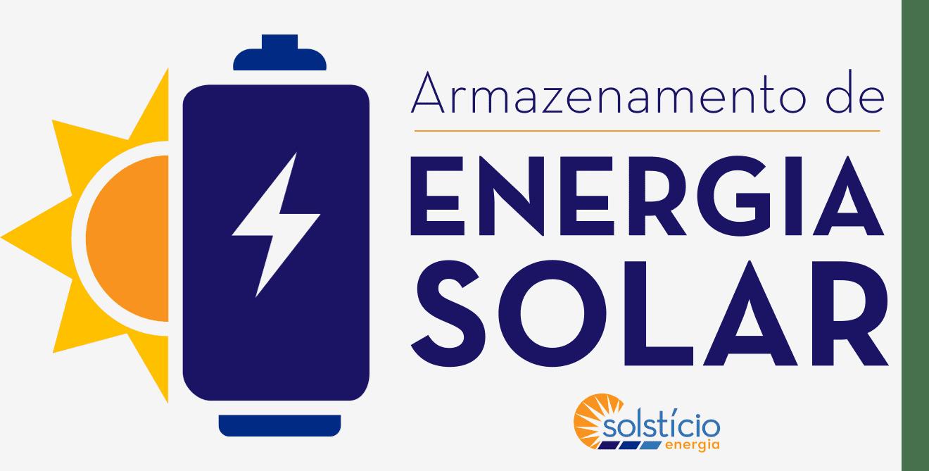 Retângulo cinza claro com um desneho gráfico de uma bateria similar a uma pilha, colorida de roxo escuro. Ao lado, o texto Armazenamento de energia solar: onde estamos? também está em roxo escuro.