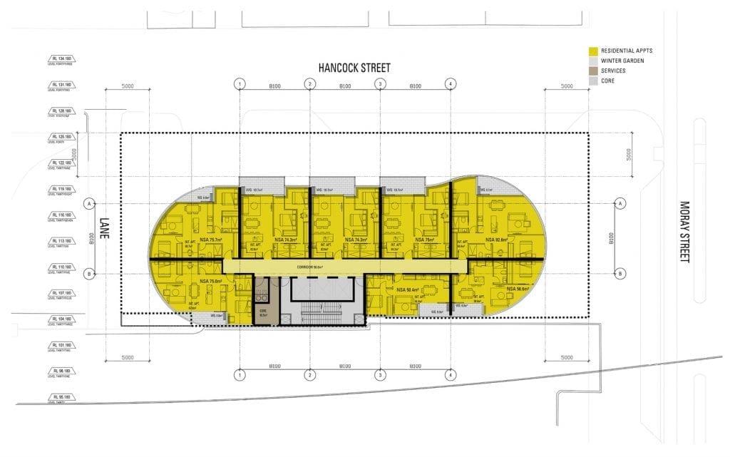 Foto de uma planta em 2D do edifício citado no post. Imagem no post de construções solares, gerada por Peddle Thorp Architects.